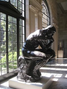 Real men think hard. He looks busy. The Thinker - by Auguste Rodin - bronze, marble - 1902- at Musee Rodin, Paris
