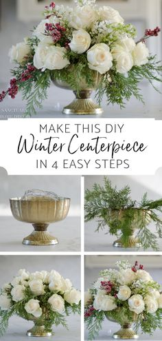 Make this Arrangement in 3 easy steps-DIY Winter Centerpiece-Easy DIY Wedding Centerpiece-How to make a flower arrangement winter diy decorations Rosen Arrangements, Winter Floral Arrangements, Christmas Flower Arrangements, Christmas Flowers, Beautiful Flower Arrangements, Winter Flowers, Diy Flowers, Flower Decorations, Diy Wedding Flower Arrangements
