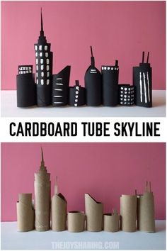 Skyline Cardboard Tube Craft Recycle cardboard tubes in this majestic skyline . Skyline Cardboard Tube Craft Recycle cardboard tubes into this majestic skyline to use in the nursery or classroom Cardboard Tube Crafts, Toilet Paper Roll Crafts, Cardboard Art, Cardboard Playhouse, Cardboard Furniture, Cardboard Castle, Projects For Kids, Diy For Kids, Crafts For Kids