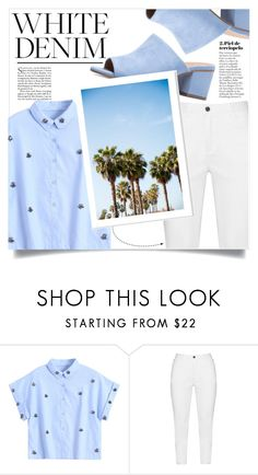 """""""Bright White : Summer Denim"""" by aanchal-w ❤ liked on Polyvore featuring Zhenzi"""