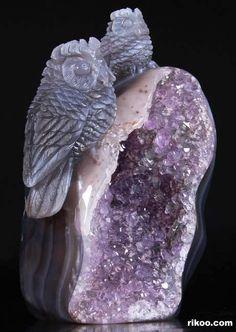 Agate Amethyst Geode, Druse Crystal Owls Carving