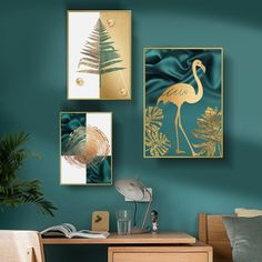Nordic Golden Animal Leaf Canvas Print and Poster Abstract Wall Art for Living Room Entrance Aisle Cuadro Salon Decoracion Kids Room Wall Art, Living Room Art, Wall Art Decor, Types Of Art Styles, Canvas Wall Art, Canvas Prints, Modern Prints, Abstract Wall Art, Gallery Wall