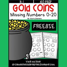 Gold Coins Missing Numbers 0-20 FREEBIEThis two page freebie gives students the opportunity to practice writing numbers 0-10 on one page and 11-20 on the second page. The first and last numbers on each page are included to get the students started. Numbers are written on gold coin shapes to give motivation for the skill.