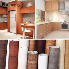 Self Adhesive Wood Vinyl Wallpaper Roll Waterproof Desktop Cabinet & Furniture