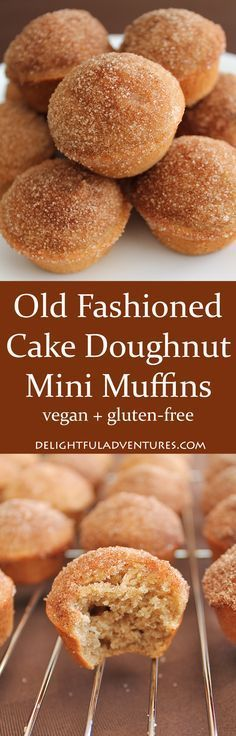 You're going to love these vegan gluten-free old fashioned cake doughnut mini muffins. They're perfectly spiced old fashioned cake doughnuts—in muffin form! (Gluten Free Recipes For Dessert) Healthy Vegan Dessert, Vegan Dessert Recipes, Gf Recipes, Vegan Treats, Vegan Foods, Gluten Free Desserts, Dairy Free Recipes, Cooking Recipes, Muffin Recipes