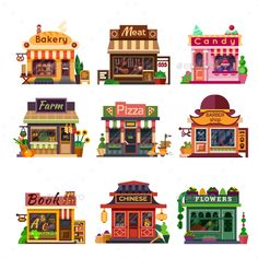 Set of nice shops. Different Showcases: bakery meat shop candy store farm products pizza cafe coffee barbershop bookstore chinese shop flower shop. Minecraft City, Minecraft Designs, Minecraft Houses, Building Illustration, Flat Illustration, Meat Shop, Environment Design, Illustrations And Posters, Game Design