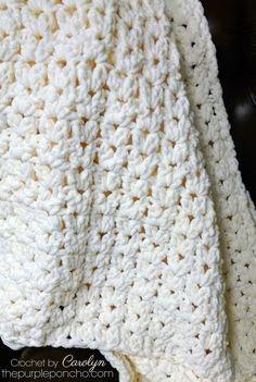 Simple Vintage Blanket - Free Crochet Pattern - The Purple Poncho - # Blanket # . - Simple Vintage Blanket – Free Crochet Pattern – The Purple Poncho – - Crochet Afghans, Motifs Afghans, Poncho Crochet, Crochet Baby Blanket Free Pattern, Crochet For Beginners Blanket, Afghan Crochet Patterns, Crochet Yarn, Quick Crochet Blanket, Crochet Granny