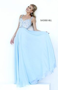 Sherri Hill long a-line dress 8552 has a lace bodice adorned with sparkling beadwork. Sherri Hill 8552 long dress features a sweetheart neckline and beaded straps. The floor length skirt is made of gorgeous chiffon material.