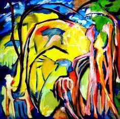 Im Wildgehege, Acrylic on canvas, 1 x 1 m,  #art,#kunst,#expressionism,#expressionismus,