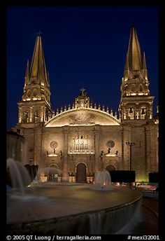Cathedral by night. Guadalajara, Jalisco, Mexico