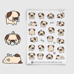This listing is for one sheet, in the design shown. These adorable kawaii pug planner stickers are too cute to pass up! Each sheet contains 26 stickers, and the artwork is by the amazingly talented Danielle at LookLookPrettyPaper. Kawaii Planner, Cute Planner, Drawing Cartoon Faces, Cute Drawings, Afro Punk, Planner Stickers, Pug Art, Cute Pugs, Cute Characters