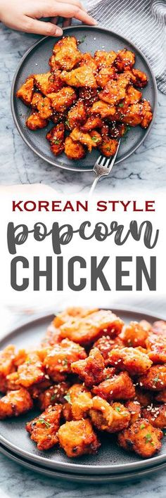 KOREAN POPCORN CHICKEN is sticky, spicy, tangy and crunchy. Inspired by the hyper-famous Korean street snack, Dakgangjeong, boneless chicken is deep fried and tossed in a sweet, sour and spicy sauce that makes every bite super addictive. #chicken #appetizer #party #snack #recipe via @my_foodstory