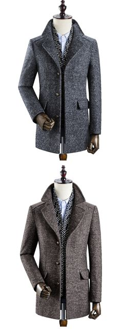 US$99.98 Mens Business Casual Thicken Woolen Trench Coat Detachable Scarf