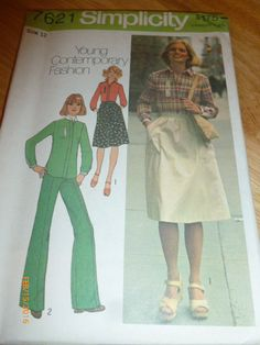 7621 Simplicity Size 12 Pattern Young Contemporary Fashion Misses Shirt Skirt & Pants Vintage 1976 by 2xisnice on Etsy