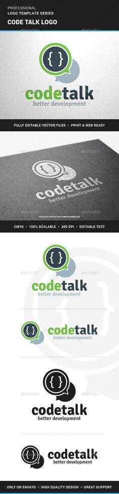 The Code Talk Logo TemplateA creative and modern logo for coding and development. All elements are fully vector (resizable) and e Logo Design Template, Logo Templates, Coding Logo, Circle Logos, Great Logos, Symbol Logo, Creative Logo, Modern Logo, Fashion Branding