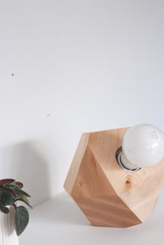 Maple Faceted Block Table Lamp