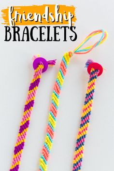 See how to create your very own friendship bracelets to share with friends! Create them together in colors of your choice, or give them as gifts. #friendshipbracelets #diy #kidscrafts #kidsdiy #campcrafts #boredombuster #diybracelet #craftsbyamanda