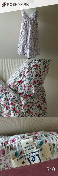 Floral Boho Summer Sun Dress White with pink, blue, and green floral print.   Adjustable straps LEI size XL Dresses