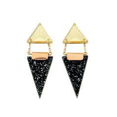 Triangles Earrings Black