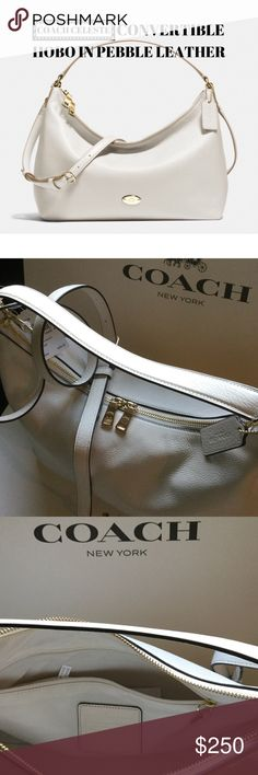 "COACH CELESTE CONVERTIBLE HOBO IN PEBBLE LEATHER NWT COACH CELESTE CONVERTIBLE HOBO in PEBBLE LEATHER. Very roomy hobo with inside zip, cell phone and multifunction pockets. Zip top closure with fabric lining. Handle with 8 1/2"" drop. Detachable longer strap with 20"" drop for shoulder or crossbody wear. Nice chalk color with gold accents for any occasion. Comes wrapped in a Coach box, if needed. Let me know. Bundle to get 10% off 2 or more items. ❤️ Coach Bags Hobos"