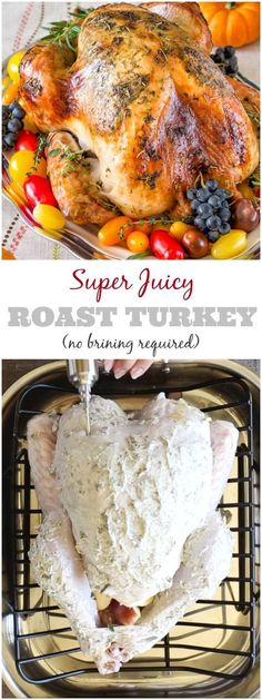 Super Juicy No Brine Roast Turkey Video Instead of brining your turkey inject the flavored butter or brine into the meat for guaranteed juicy meat. Super simple method for super juicy Thanksgiving turkey guaranteed! Source by whitney_w_evans Best Thanksgiving Recipes, Holiday Recipes, Fall Recipes, Thanksgiving Cakes, Recipes Dinner, Holiday Foods, Thanksgiving Dinner For Two, Hosting Thanksgiving, Thanksgiving