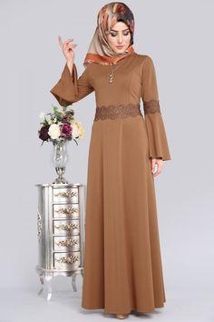 ** YENİ ÜRÜN ** Güpür Detay Tesettür Elbise Tütün Ürün Kodu: PRM3038 -->64.90 TL