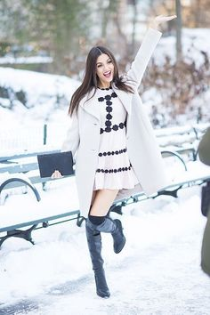 Victoria Justice OTK boots socks winter outfit in the snow