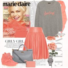 """coral obsesion"" by ana2cats on Polyvore"