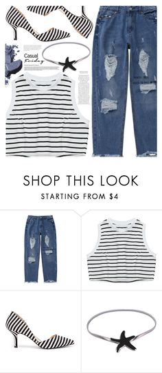 """LOVE! Stripes & Jeans"" by pastelneon ❤ liked on Polyvore featuring Sole Society and Bobbi Brown Cosmetics"