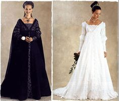 Black and white italian Renaissance gowns