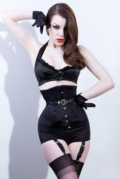 Black panty girdle by Fairy Goth Mother (£395) - the shape and sleekness reminds of the playboy bunny suits from the 1950s