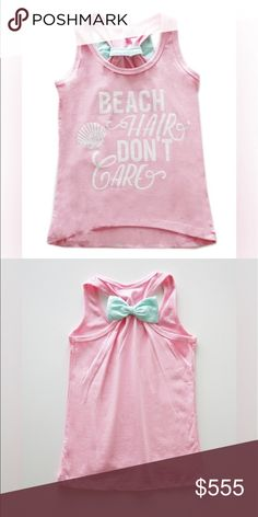 """🌸COMING SOON🌸 Adorable """"Beach Hair Don't Care"""" Racerback tank with bow detail on back                                                                   95% Cotton 5% Spandex Shirts & Tops Tank Tops"""