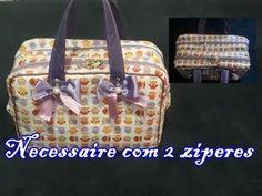 Passo a Passo - Necessaire Dupla (fácil) - YouTube Patchwork Bags, Quilted Bag, Handmade Handbags, Handmade Bags, Diy Bags No Sew, Diy Purse, Couture Bags, Denim Bag, Crochet Purses