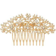 EVER FAITH® österreichischen Kristall Art Deco Braut drei Blatt Blume Haarkamm Gold-Ton N05943-2