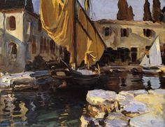 John Singer Sargent, San Vigilio. Barco con vela dorada, 1913. Óleo sobre lienzo, 55.9 x 71.1 cm. Colección particular