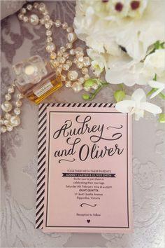 Pink and black wedding invite. #weddingchicks Stationery Design: 2 Love Birds http://www.weddingchicks.com/2014/06/23/how-to-audrey-up-your-wedding-look/