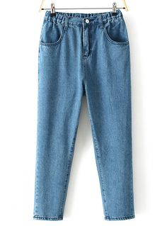 Blue Elastic Waist Pockets Denim Pant - abaday.com