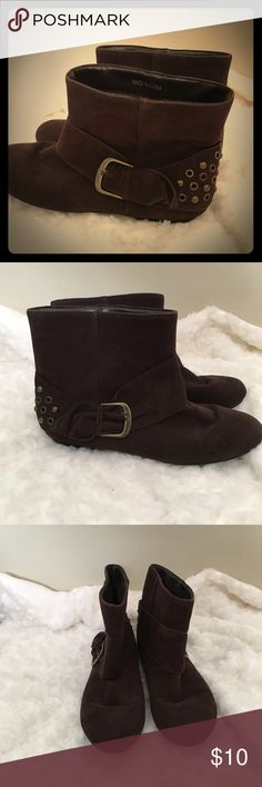 Brown Buckle Ankle Boots Women's brown ankle boots with buckle and gold accents. Some wear shown in photons. Worn only a few times, but owned for a few years. Selling as is! Accepting offers! Shoes Ankle Boots & Booties