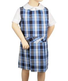 Cookie's Brand Scoop Neck Jumper with Kick Pleats - blue/white *plaid #76*, 5 100% Polyester. Machine Wash Warm. Made in U.S.A..  #Cookie's_Kids #Apparel