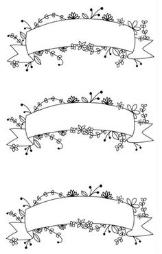 Printable Floral Banner Stickers | Bullet Journal | Planner | Printables | Floral Design | Bullet Journal Ideas | Page Layout Ideas | Banner Stickers