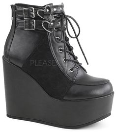 7990eaff966 Give your ensemble a fresh lift with the Demonia Poison 105 Ankle Boot. It  features a lace up front and a platform wedge bottom. wedge platform Double  .