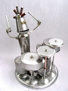 Topper | Found Object Robot Assemblage Sculpture by Brian Marshall