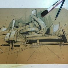 Simple and effective use of pen and pencil on brown card to change the response of the project. Pen has a formal approach to lines with white pencil adding a subtle highlight to soften areas.