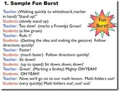 Fun Burst script- we do this! Kiddos LOVE it- it's like playing to them AND they learn the rules. :) Modification- I warn them first before giving frowny point or teacher point Teaching Second Grade, Whole Brain Teaching, Teaching Aids, Up Teacher, Teacher Binder, Classroom Teacher, Behavior Management, Classroom Management, Class Management