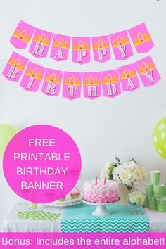 Planning a princess party soon? Check out our free printable birthday banner, also included is the entire alphabet! Simply print, cut and hang up. Each of the bright pink banner pieces have a cute little crown on it. Birthday parties get to be so expensive, so this little party diy, can help offset some of the cost. Save this pin for future reference and visit us at VanahLynn.com For more party planning tips visit our blog and see first birthday ideas, mermaid party outfits. Princess Birthday Party Decorations, Princess Theme Birthday, Princess Tea Party, Tea Party Birthday, Diy Party Decorations, Birthday Ideas, Party Printables, Free Printables, Printable Birthday Banner