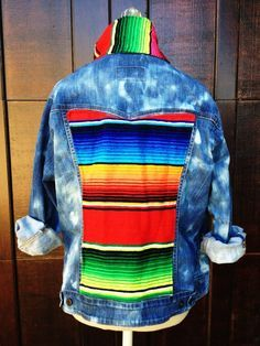 Add a contrast fabric to an existing denim jacket.