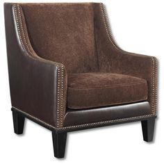 Nailhead-trimmed arm chair with chestnut and faux leather upholstery. Product: ChairConstruction Material: Wood and faux leatherColor: ChestnutFeatures: Double row nailhead trimRemovable seat cushionDimensions: H x W x D Accent Furniture, Modern Furniture, Furniture Ideas, Furniture Chairs, Leather Furniture, Furniture Design, Living Room Chairs, Living Room Furniture, Living Rooms