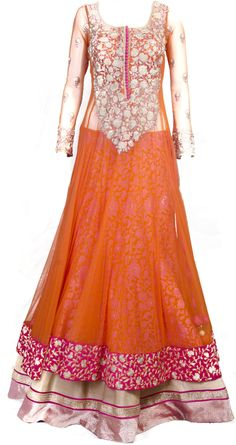 Orange sheer layered anarkali lehenga available only at Pernia's Pop-up shop.