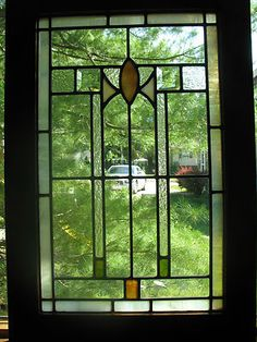 Arts And Crafts Bungalow Style Stained Gl Window Ebay Modern