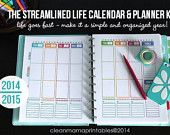 The 2014/2015 Streamlined Life CALENDAR + PLANNER Kit - 36 pages - standard and half size included -  INSTANT Download